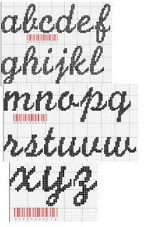 Artesanatos Grafico Para Alfabeto Cursivo Em Ponto Cruz Letras