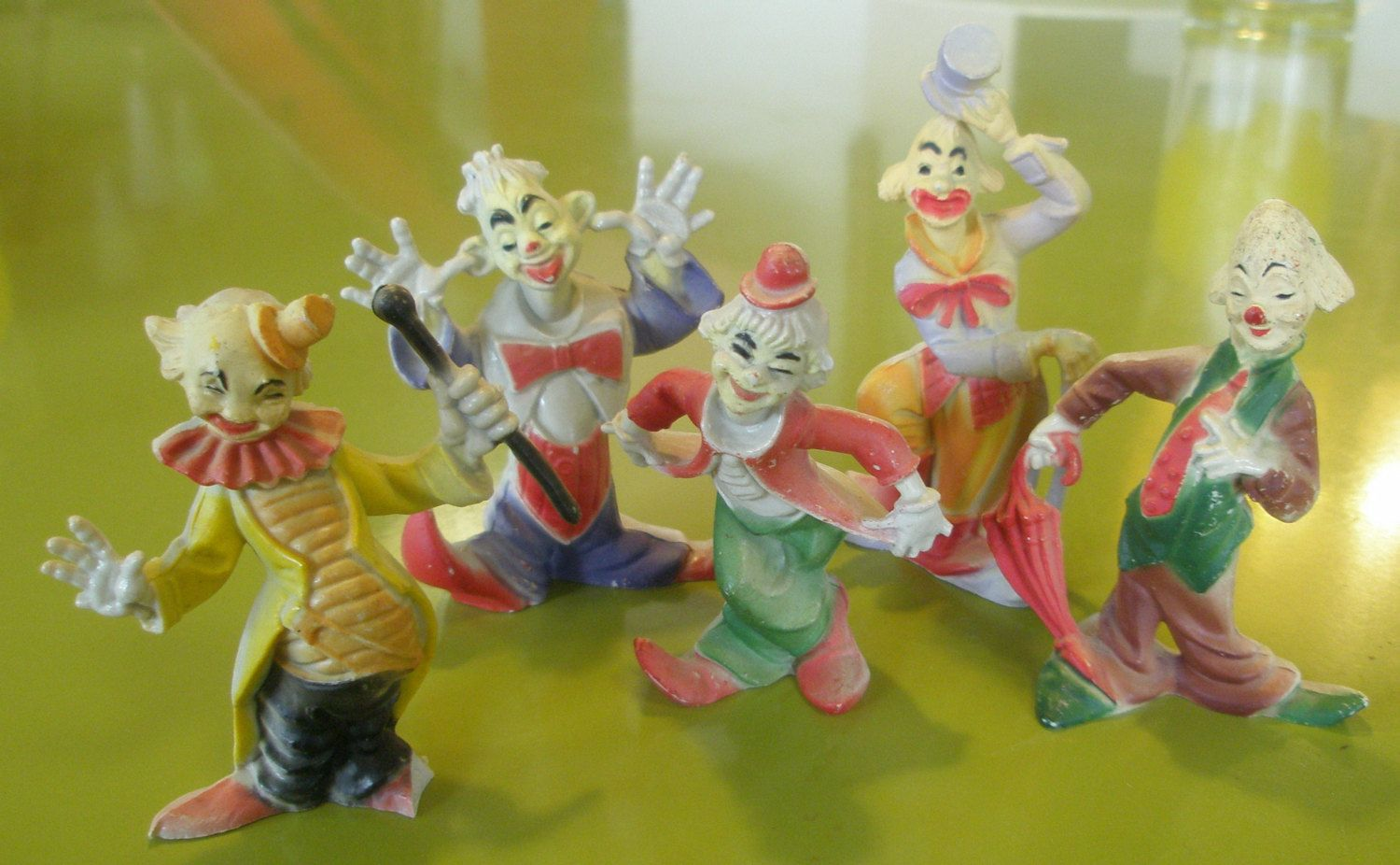 5 Vintage 1960s Mini Clown Cake Toppers Made In Hong Kong by