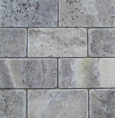 Travertine Machiatto Silver Tumbled 3x6 Subway Tile