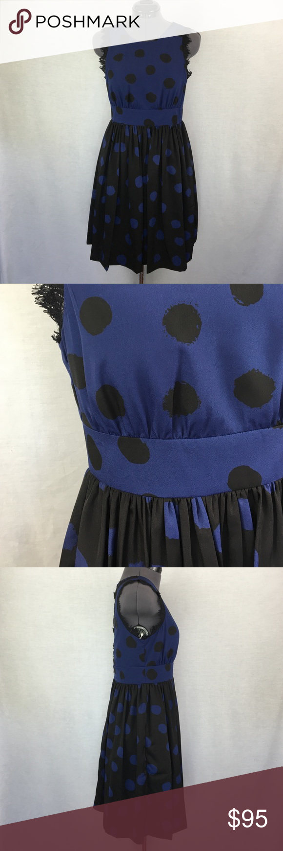 "Anthro ""Split Dots Dress"" by Corey Lynn Calter Gorgeous details! Black dots on blue top and blue dots on black skirt. Set in waist. Center back zip on skirt, open back with a two button placket on the top. Beautiful black lace around arm holes and along open back. Has pockets! Bust measured flat across approximately 16.5 inches. Set in waist is 14 inches flat across. Shoulder to hem is approx. 34 inches. Size 4 Petite, TTS. 100% polyester with polyester lining. In perfect condition…"