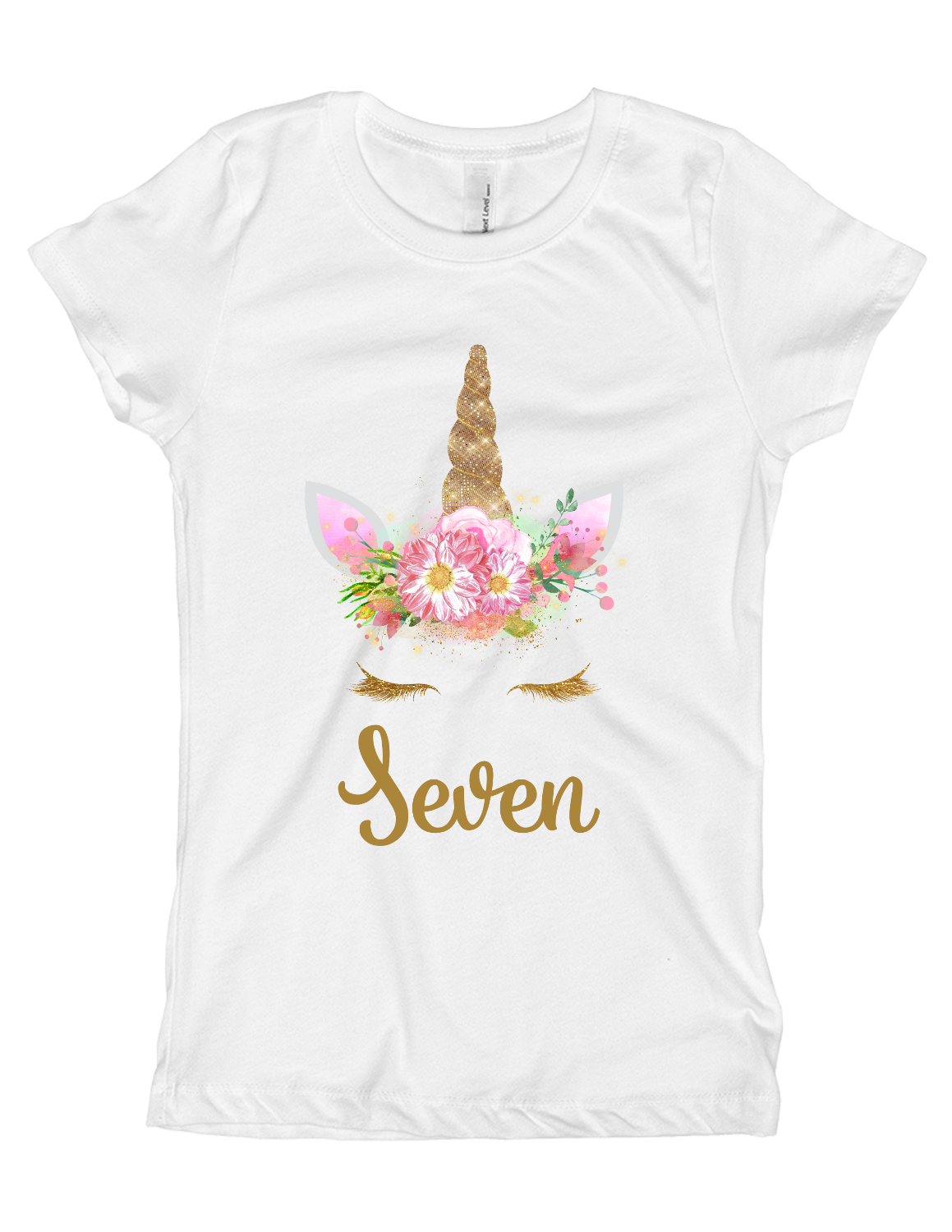 Girls 7th Pink And Gold Unicorn Birthday Party Shirt