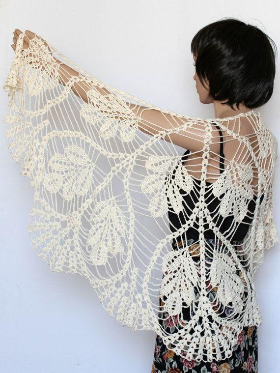 White Crocheted Shawl Wrap Stole Scarf Crochet Pattern