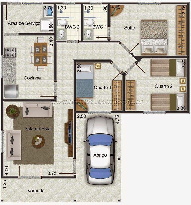 Fabuloso Planta de casa em formato de L | Arquitetura - Plantas Humanizada  FV87