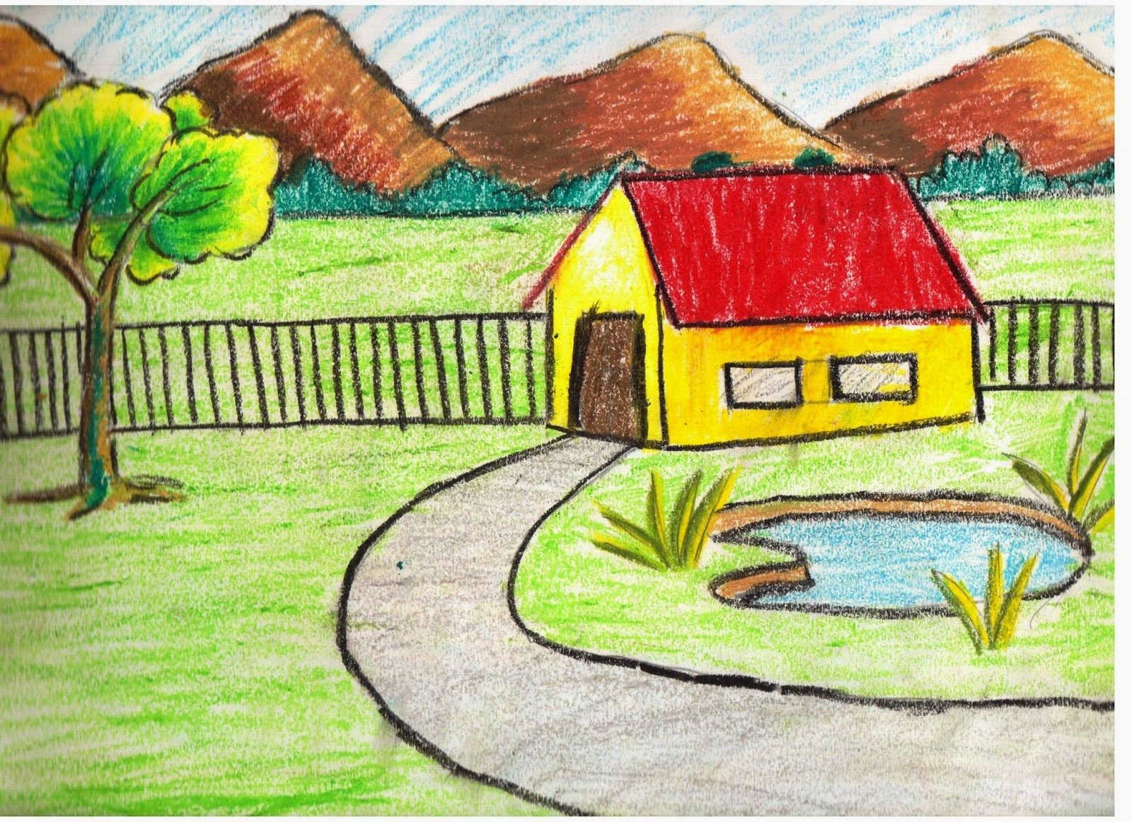 Beach Scene Kids Landscape Drawing Pictures Www Picturesboss Com Landscape Drawing Easy Landscape Drawing For Kids Scenery Drawing For Kids
