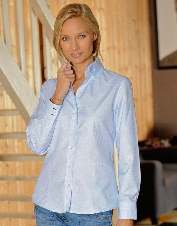 Chemisier femme à carreaux bleu ciel : Tamara Cette chemise, TAMARA, est  très tendance