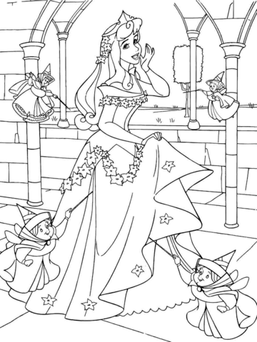 Princess Aurora With Good Fairies Coloring Page Free Printable Coloring Pages Princess Coloring Pages Sleeping Beauty Coloring Pages Disney Coloring Pages