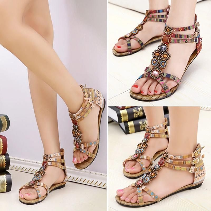 df71bb2ae4e2 Womens Unique Bohemian Style Beaded Gemstone Ankle Strap Flat Sandals DBUS   Unbranded  AnkleStrap