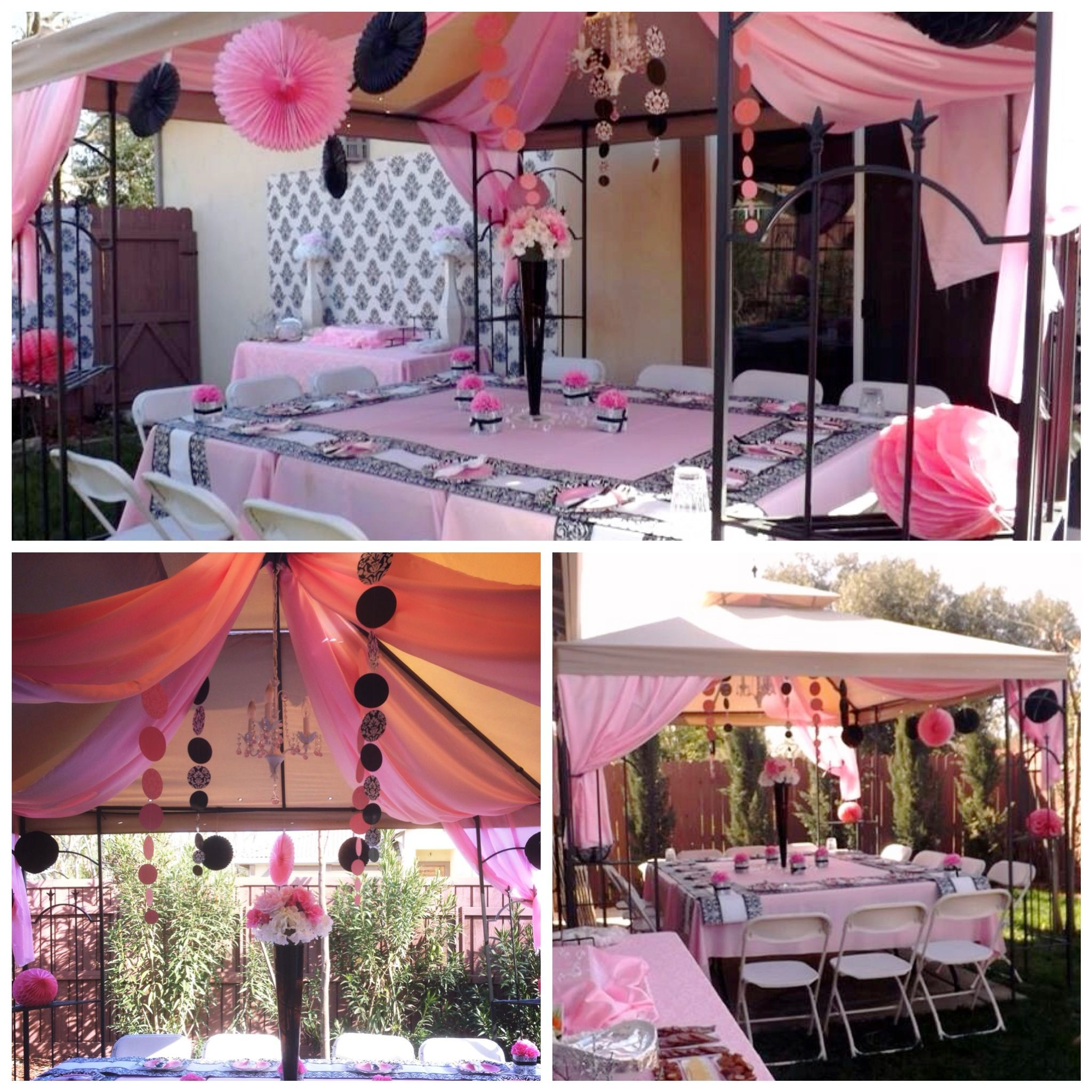 backyard setup for damask baby shower damask baby shower for