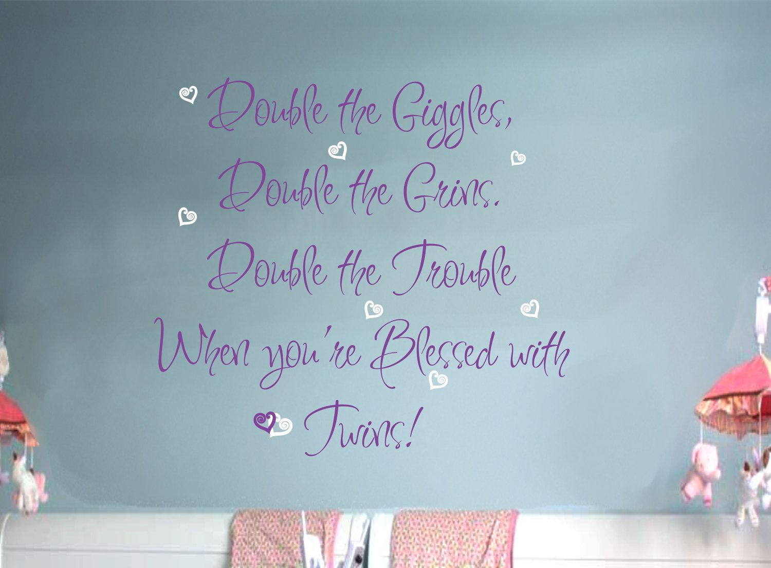Twins Baby Saying Wall Decal With Hearts Nursery Vinyl Sticker - Baby nursery wall decals sayings