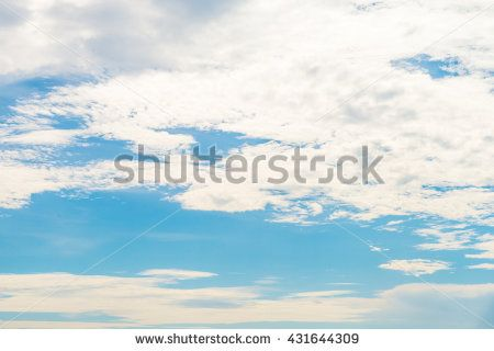 Beautiful  blue sky with white cloud in summer  on sunny day - stock photo