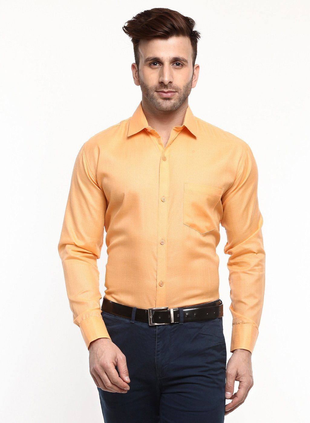 2a93065a9 Buy Hangup formal mens solid shirts Light Orange color Online at Low prices  in India on