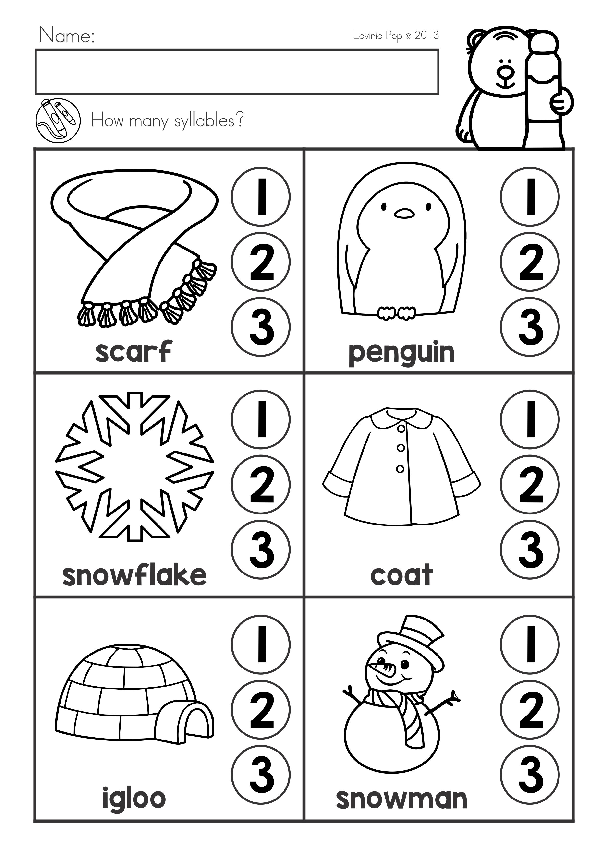 Winter Literacy Worksheets And Activities No Prep Packet How Many Syllables Literacy Worksheets Kindergarten Literacy Worksheets Winter Theme Preschool [ 3508 x 2482 Pixel ]