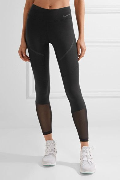 1177e4eae9f49 Nike - Power Legendary Mesh-paneled Dri-fit Stretch Leggings - Black ...