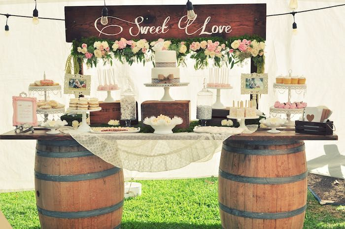 Sweetheart Dessert Table From A Rustic Chic Engagement Party Via Karas Ideas
