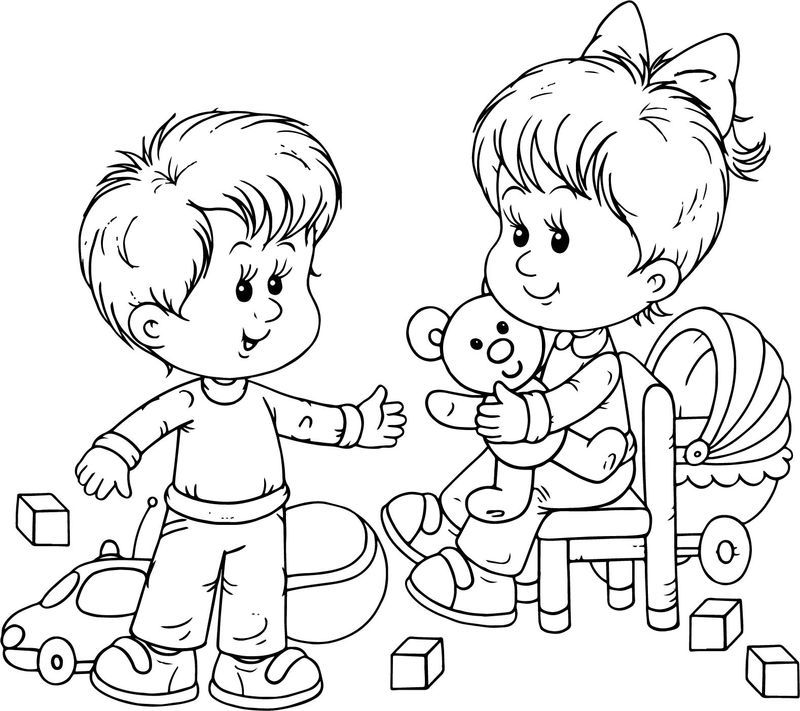 Preschool Boy And Girl Playing Toys Coloring Page Preschool Boys School Coloring Pages Preschool