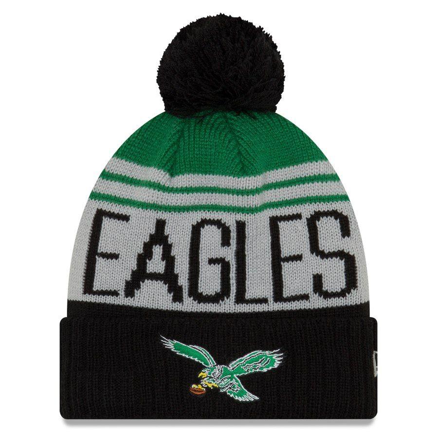 777fc188cd3d5 Men s Philadelphia Eagles New Era Gray Kelly Green Team Pride Cuffed Knit  Hat with Pom