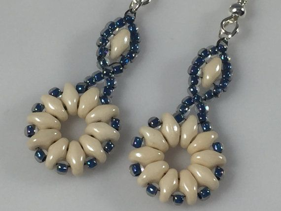 Cream and Blue Flower SuperDuo Czech Bead and by AStrandAboveBeads