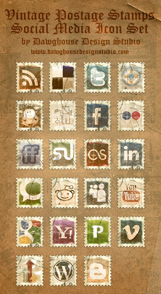 Inside this Icon Pack are 23 Free Vintage Stamp Icons