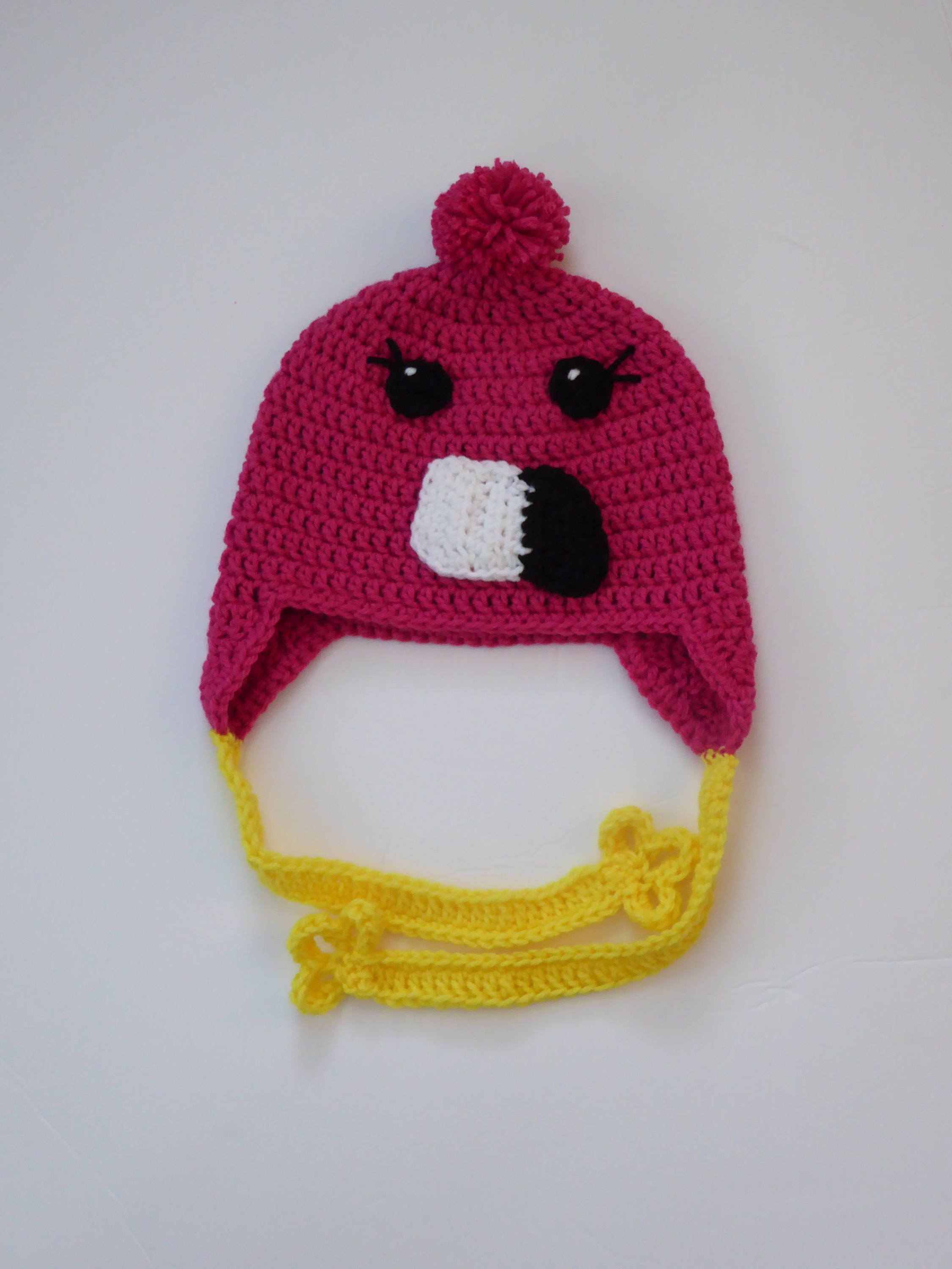 12aed6c20b7 Pink flamingo crochet earflap hat - cute kid s winter hat