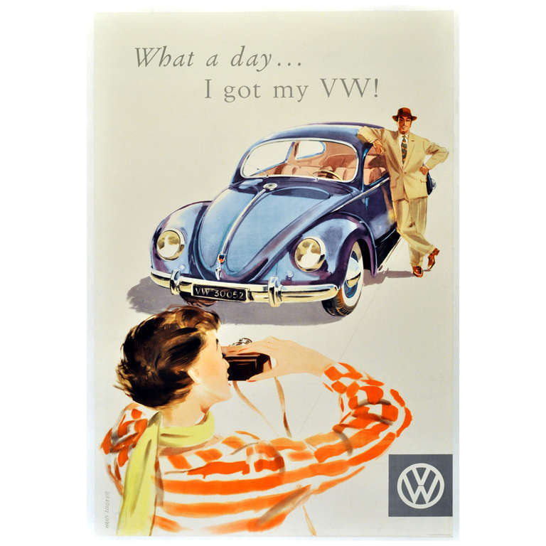 Unknown Original Vintage Mid Century Volkswagen Beetle Car Poster What A Day I Got My Vw Volkswagen Beetle Beetle Car Volkswagen