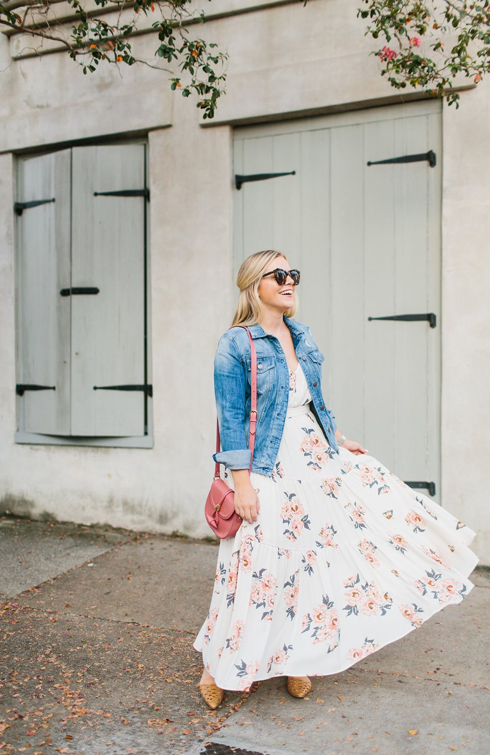 Summer Dress Transitioned To Fall With Denim Jacket Color By K Little White Dresses Fashion Floral Skirt [ 1541 x 1000 Pixel ]