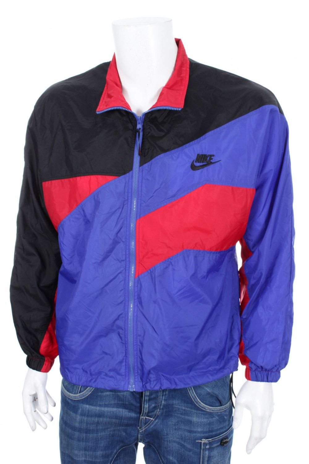 5e7dc6e44 Rare Vintage 90s Nike Windbreaker Track jacket Red Purple Black Color Block  Size M by VapeoVintage on Etsy