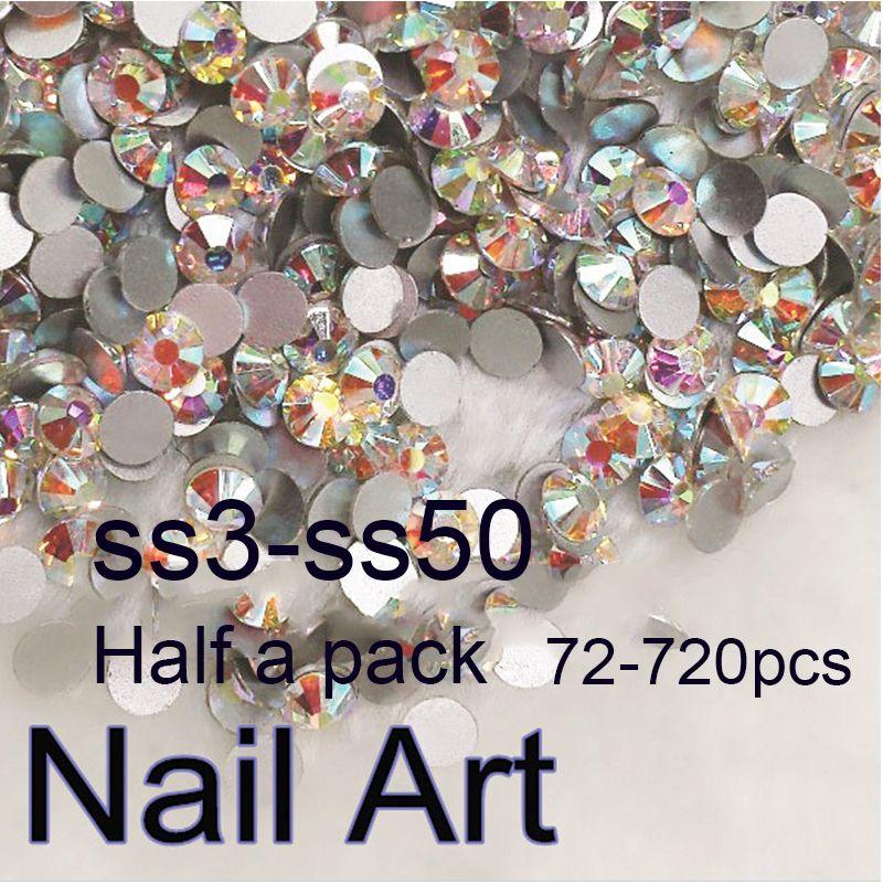 Half Pakje SS3-SS50 Crystal AB Nail Art Rhinestones Met Ronde Plaksteen Voor Nagels Decoratie Mobiele Telefoon Kleding En Tassen