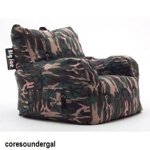 BeanSack Big Joe Camouflage Lounge Chair Camo Camoflauge Bean Bag Dorm Gaming