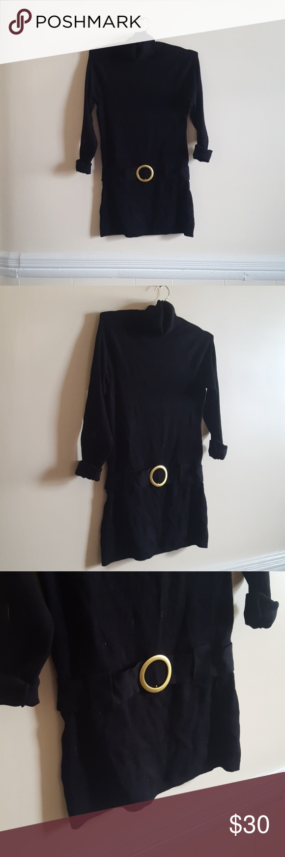 PETITE Medium Black Tunic Dress w/ Gold Belt NWT NWT | Black tunic ...
