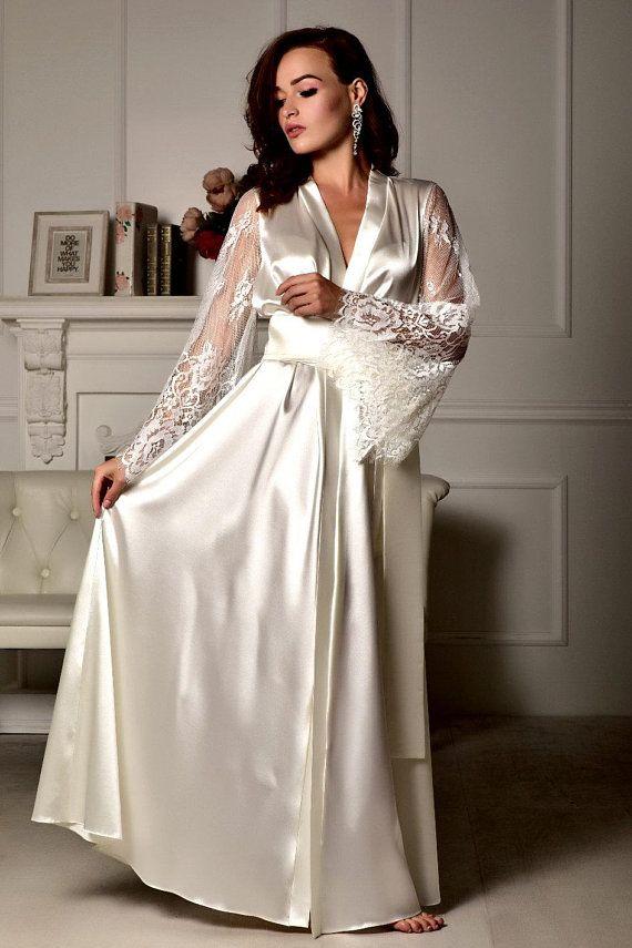 d7ed611e75 Long lace bridal robe Wedding kimono Long bridal robe Kimono robe ...