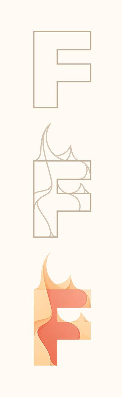 CATEGORY: Typography WHAT WE LIKE: We like how F starts with fire and a fire is on the F, and how it's bold and simple like a fire.  WHERE WE COULD USE THIS:  We could use this for a heading for the Catching Fire movie, or anything else related with fire. Ridhika