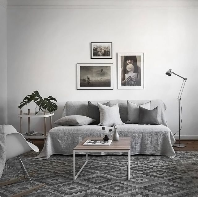 A grey and white living room - Is To Me living space Pinterest