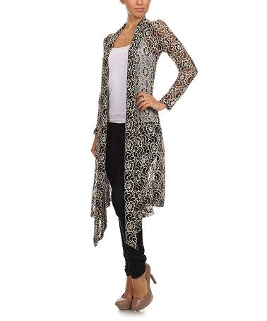 Another great find on #zulily! Black & White Floral Paisley Lace Open Duster #zulilyfinds