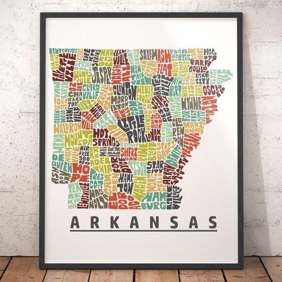 Arkansas map art, Arkansas art print, Arkansas typography map, map ...