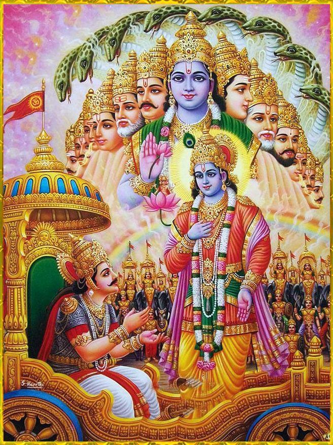 Krishna displaying His Universal Form, Vishva Swarup, to Arjuna ...