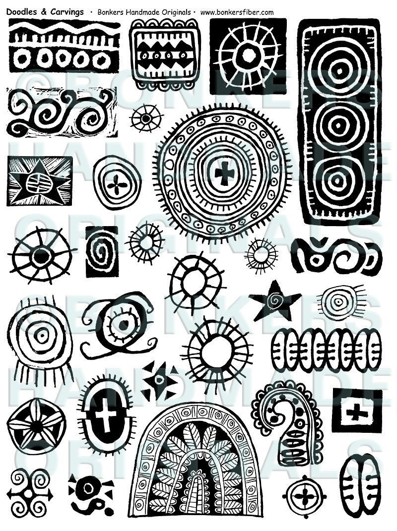 Doodles and carvings rubber stamp sheet via etsy