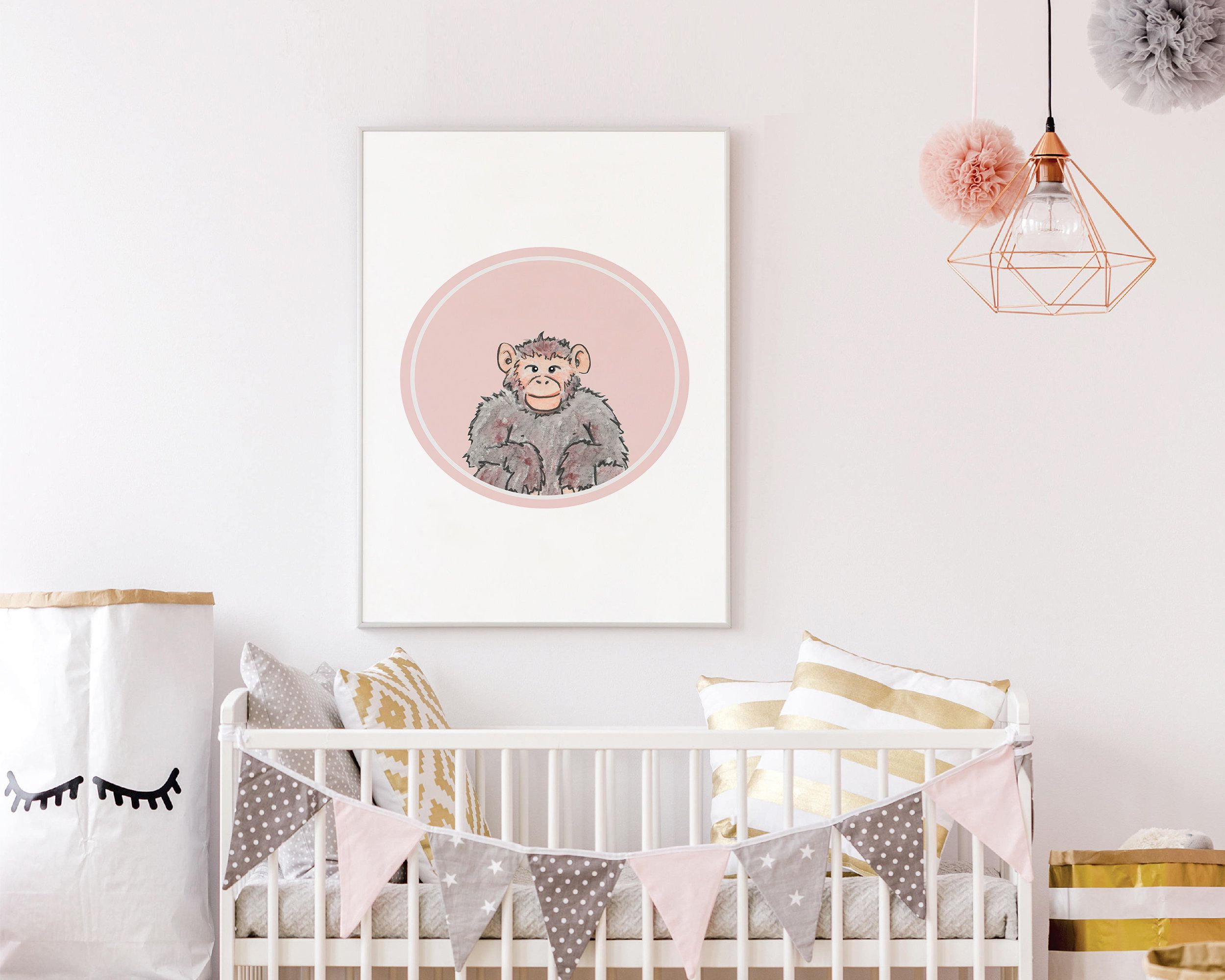 Monkey Wall Art - Safari Animal Wall Art - Pink