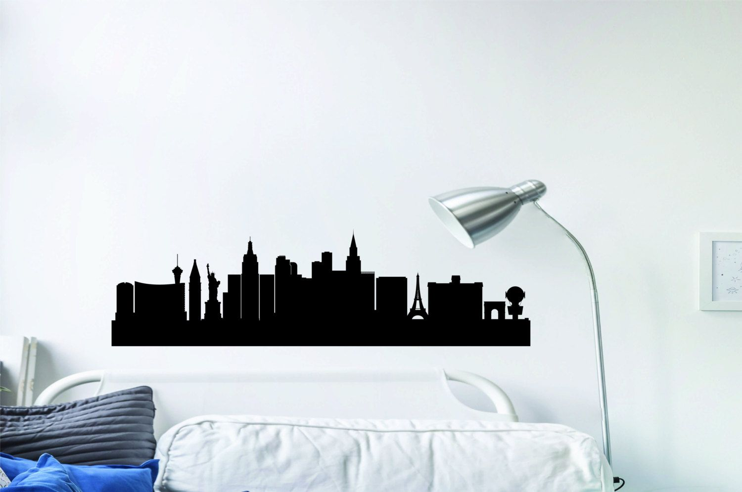 Las vegas city skyline wall decal city horizon silhouette cityscape wall decal custom city horizon wall sticker city skyline sticker