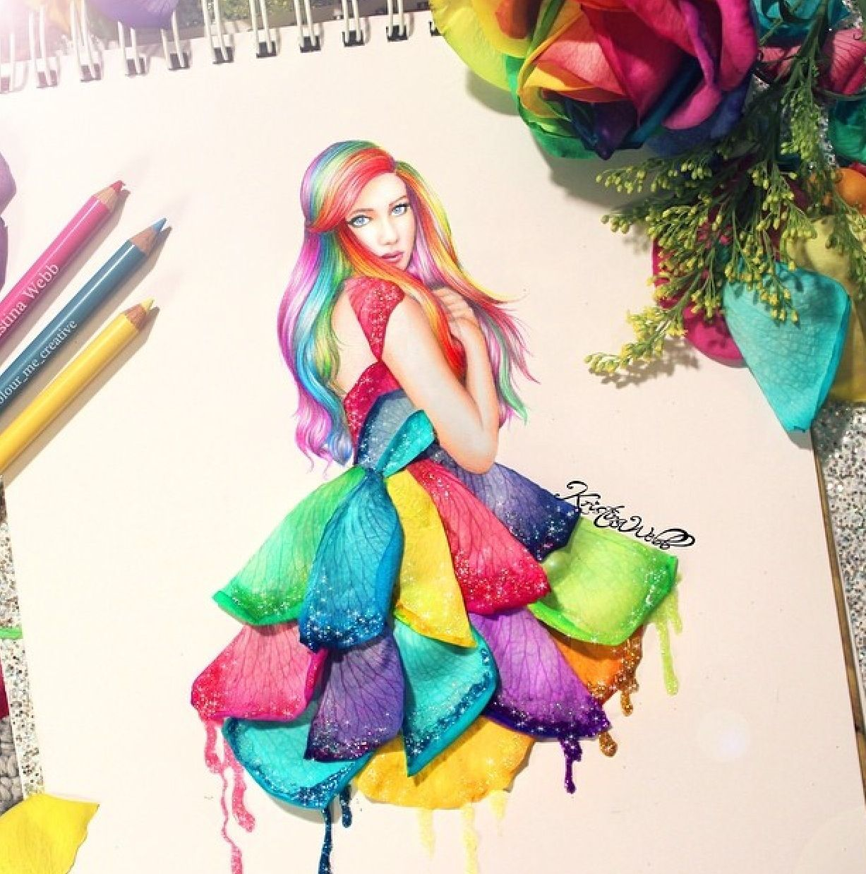 Latest Drawing With These Beautiful Rainbow Roses Drawings