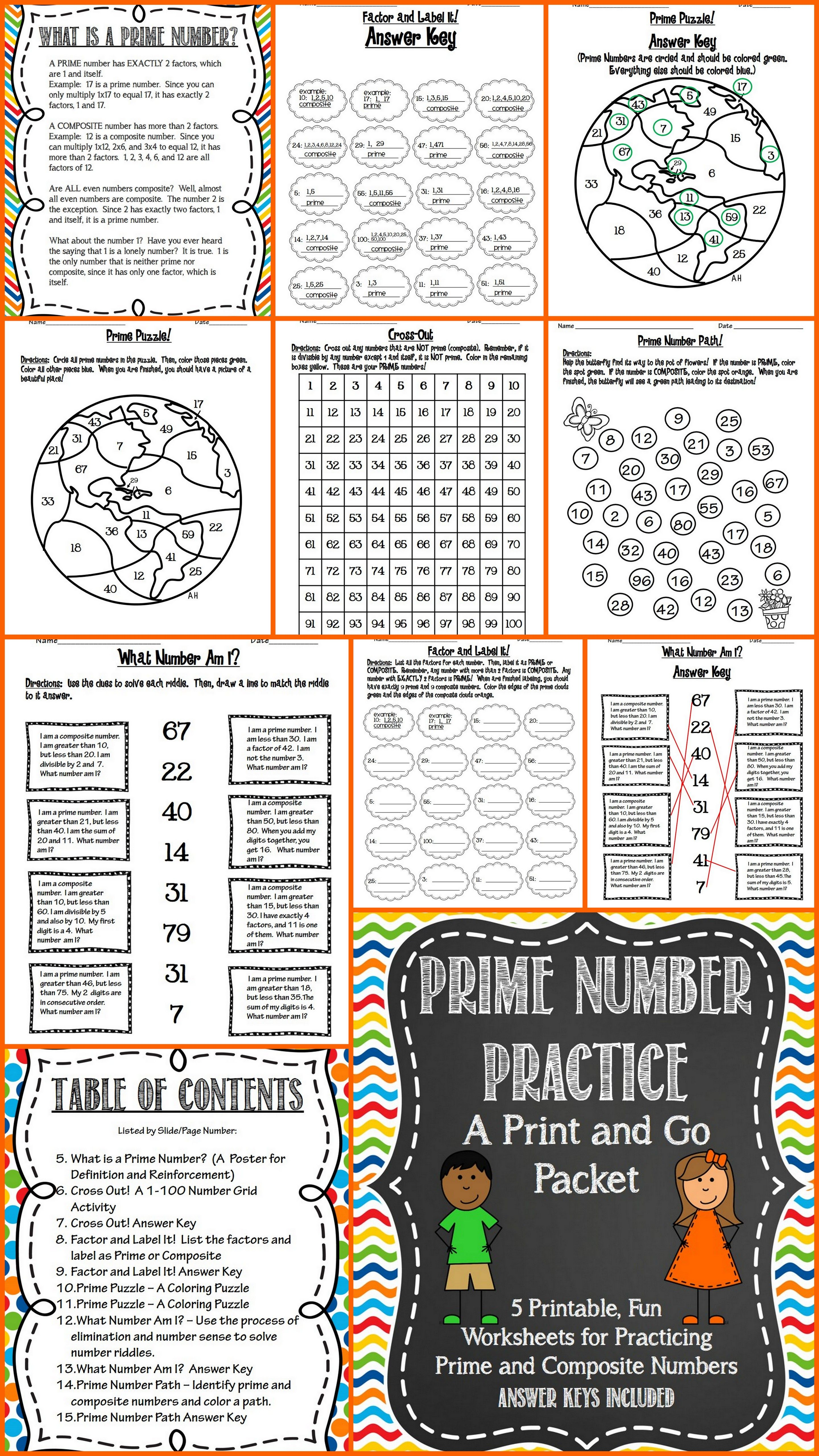 Prime and composite numbers print and go math keys and factors prime number practice a print and go worksheet packet includes poster what number robcynllc Image collections