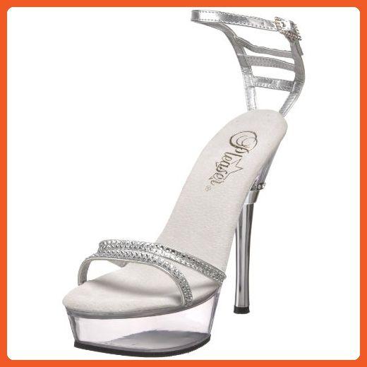 82d24b4fed8a6 Pleaser Women's Allure-684 Platform Sandal,Silver Polyurethane,6 M ...