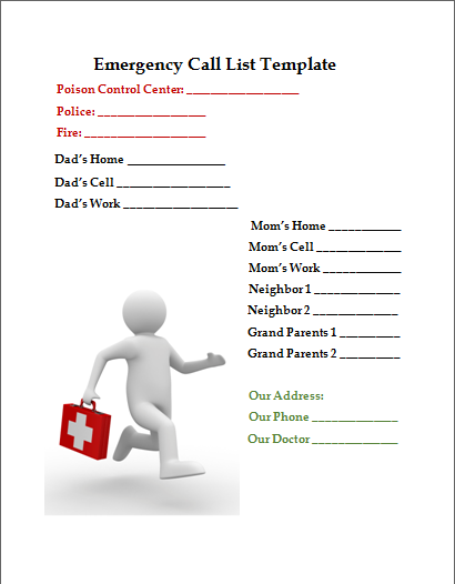 emergency phone list template