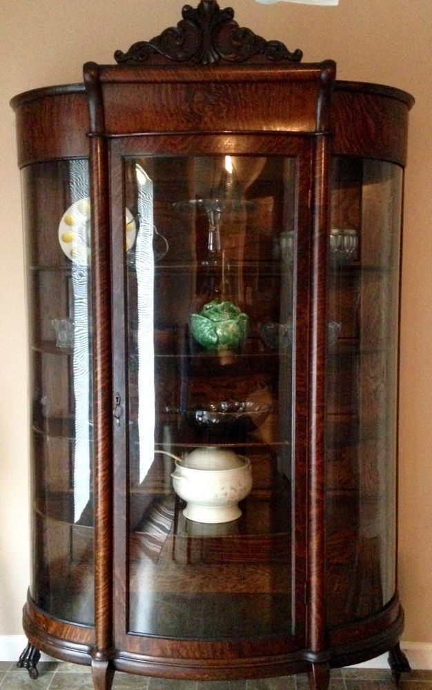 Antique (circa Early 1900u0027s) Tiger Oak Bow Front Curved Glass China Cabinet  #Victorian