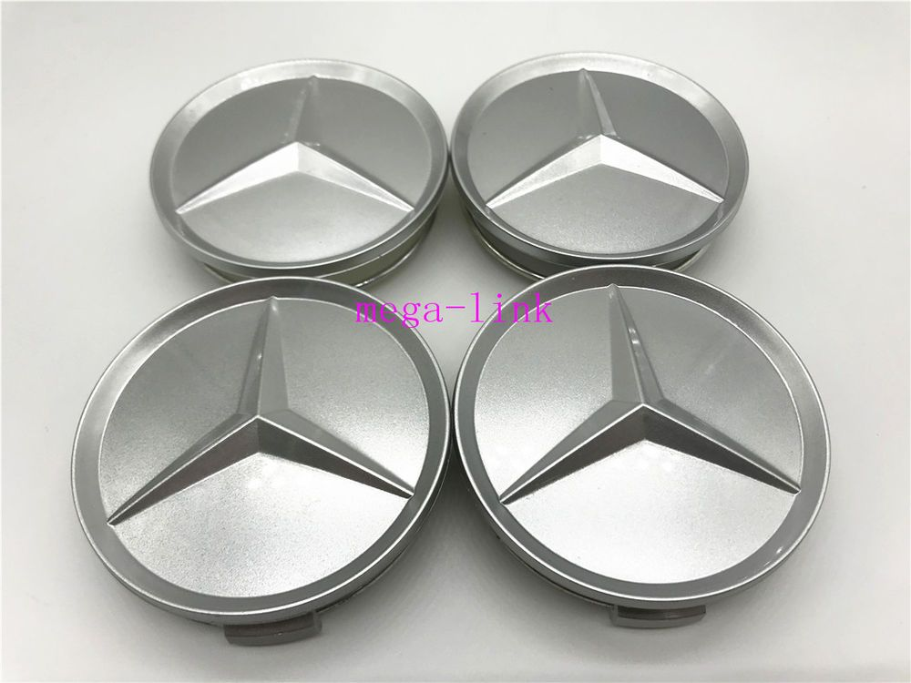 4 Pcs 75mm 3 Inch Silver Wheel Badge Center Caps For Mercedes Benz