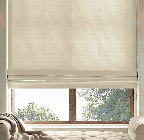 Thai Silk Solid Flat Roman Shade Living Room Blinds