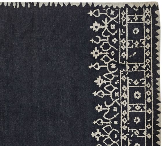 Desa Bordered Wool Rug Indigo Blue Wool Rug Wool Area Rugs Rugs On Carpet