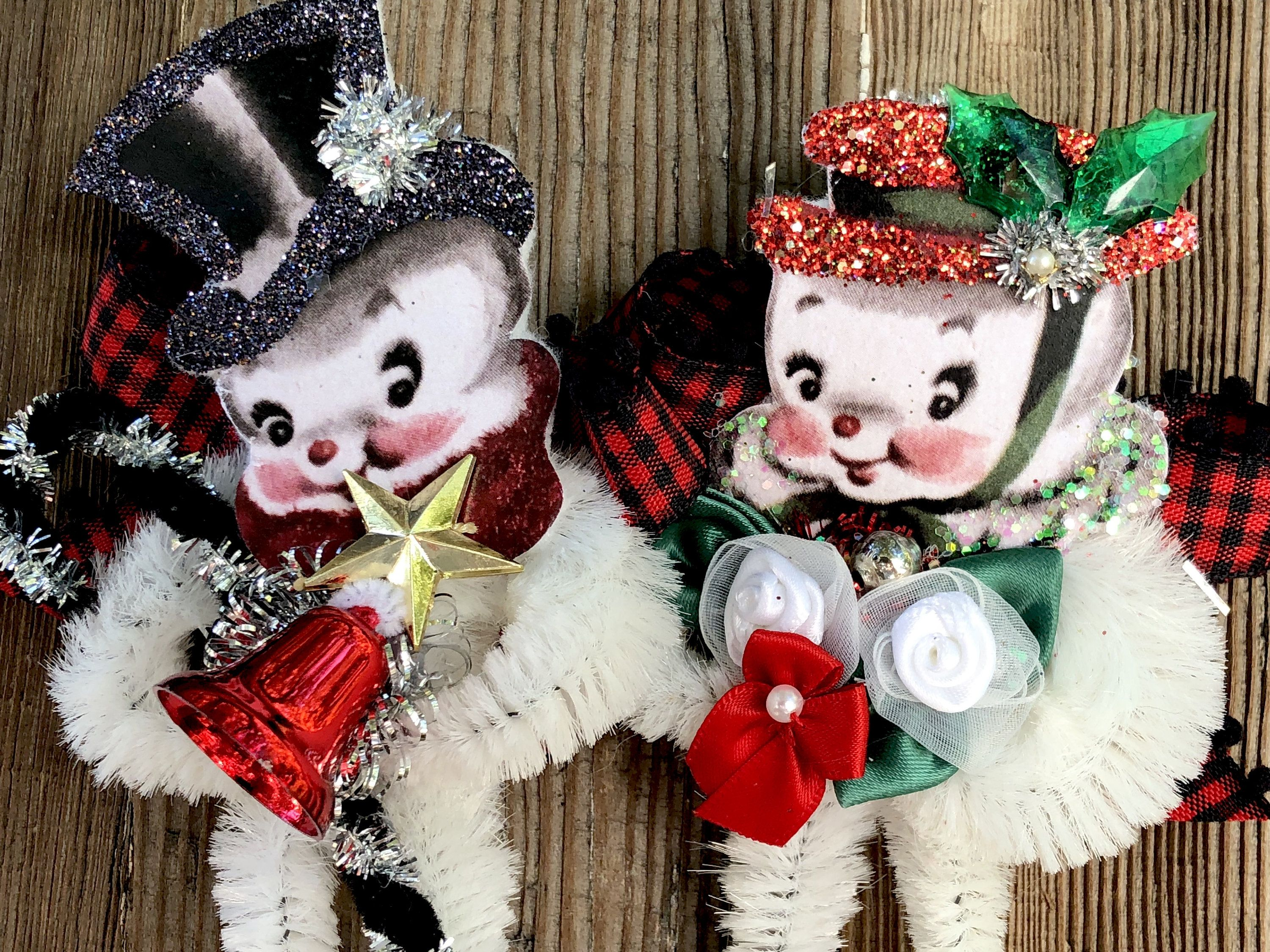Snowman Christmas Ornament Vintage Chenille Set of 2 by
