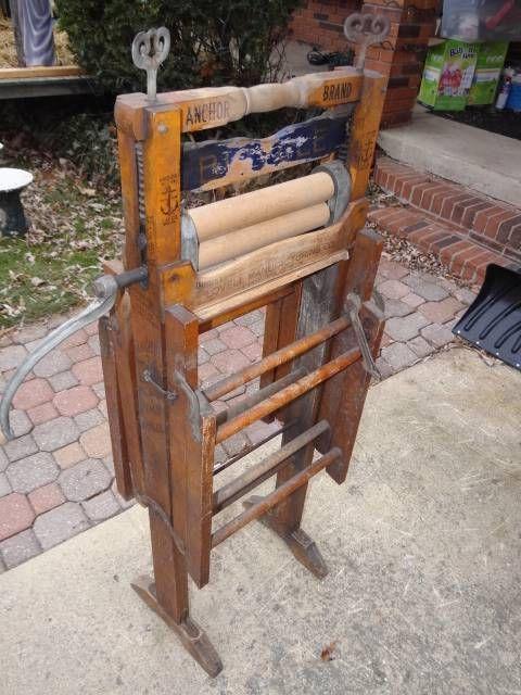 Antique Anchor Brand Lovell Pat 1898 Folding Double Rack Clothes Wringer Washer Wringer Washer Antiques Wringer