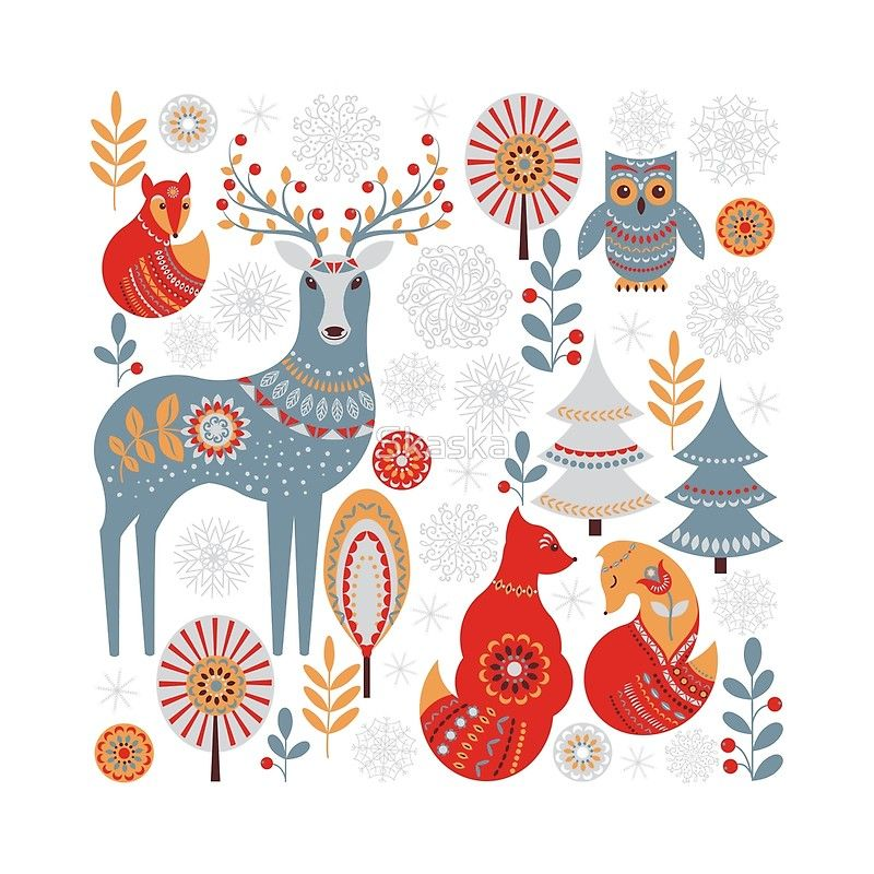 Scandinavian Christmas Pattern On A Red Background Deer Owls Foxes Trees And Christmas Illustration Scandinavian Christmas Scandinavian Christmas Ornaments