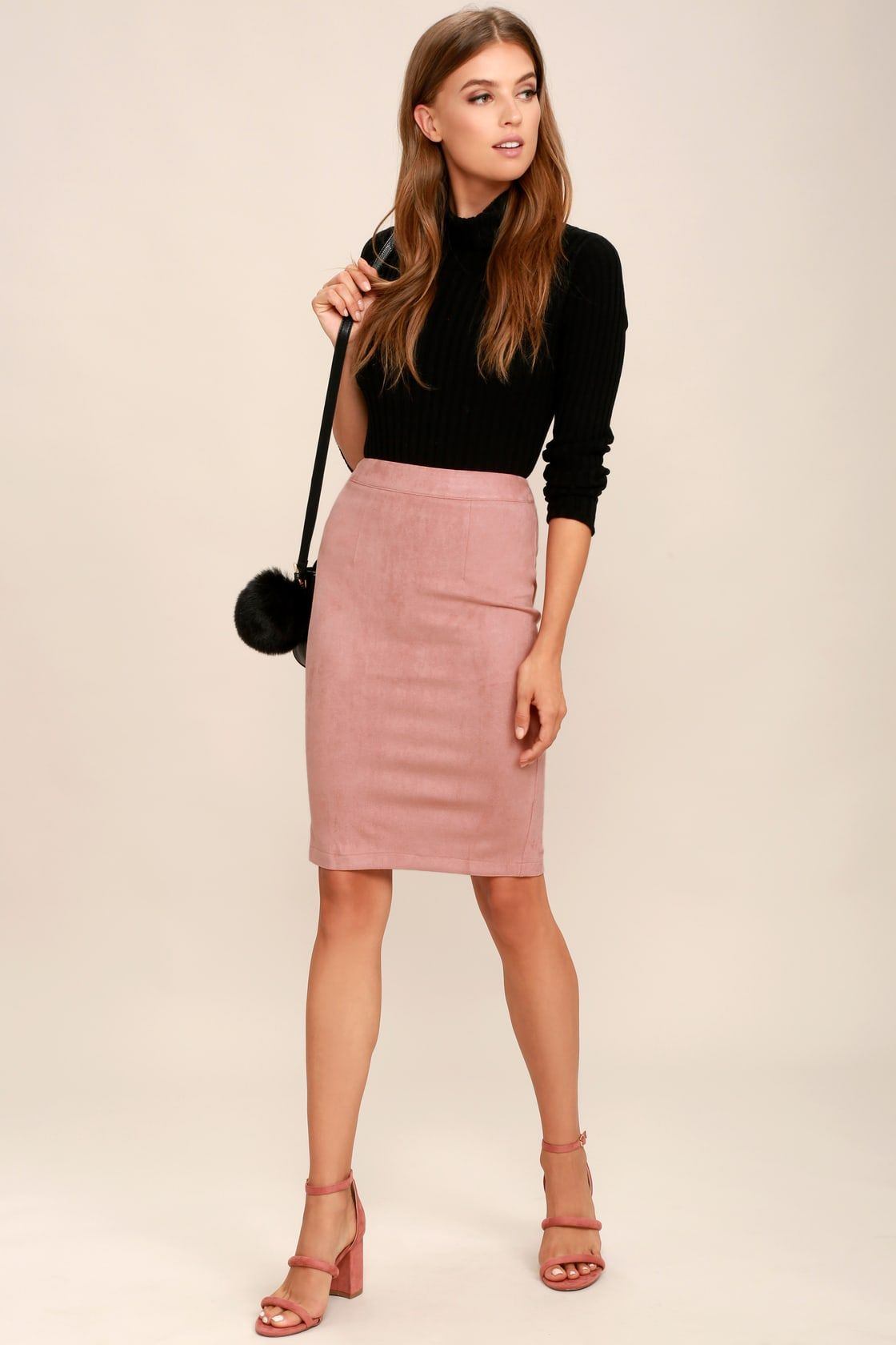 7ec4b38e9 Lulus | Superpower Blush Suede Pencil Skirt | Size X-Small | Pink ...